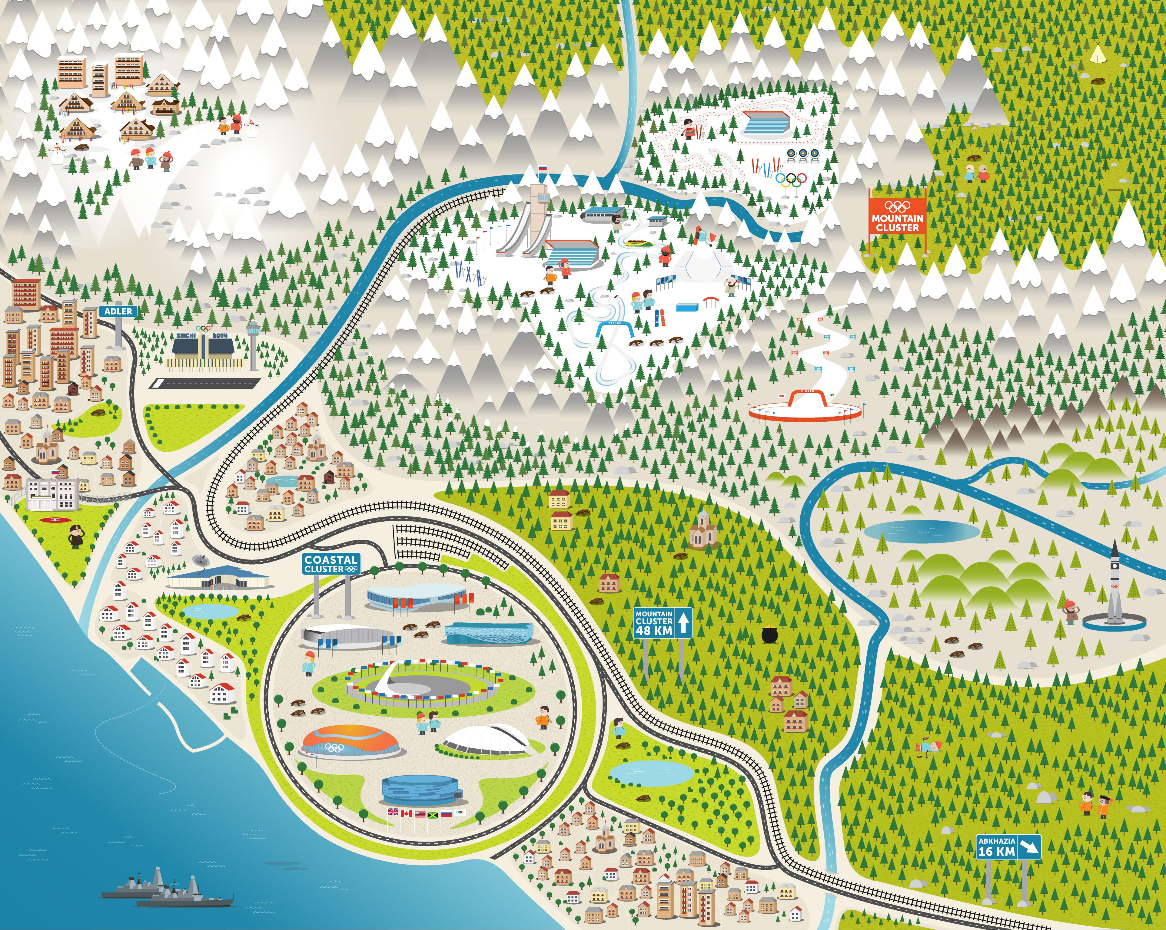sochi mapa Sochi 2014 Interactive Map » From Fiasco Design sochi mapa